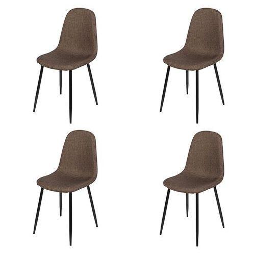 Qazqa Zestaw 4 krzeseł w kolorze ciemnobrązowym stalowe nogi - cilla