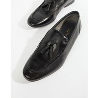 high shine tassel loafer in black - black, Silver street