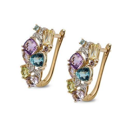 Złote kolczyki z ametystami i diamentami, kolor fioletowy