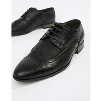 New look faux leather brogue in black - black