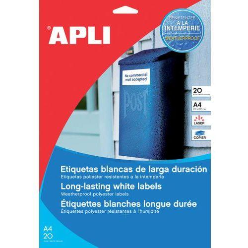 Etykiety poliestrowe APLI, 210x297mm, prostokątne, transparentne 20 ark.