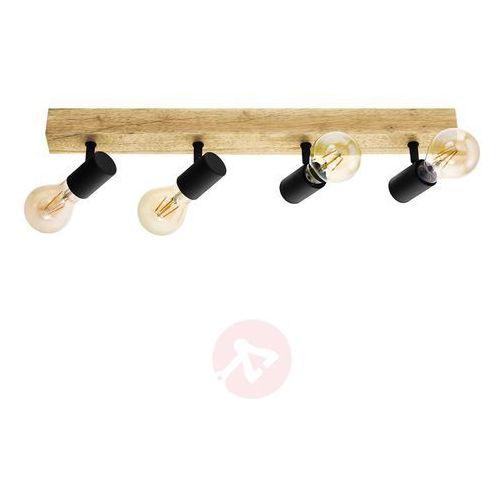 Listwa reflektorowa TOWNSHEND czarna z drewnem E27 EGLO