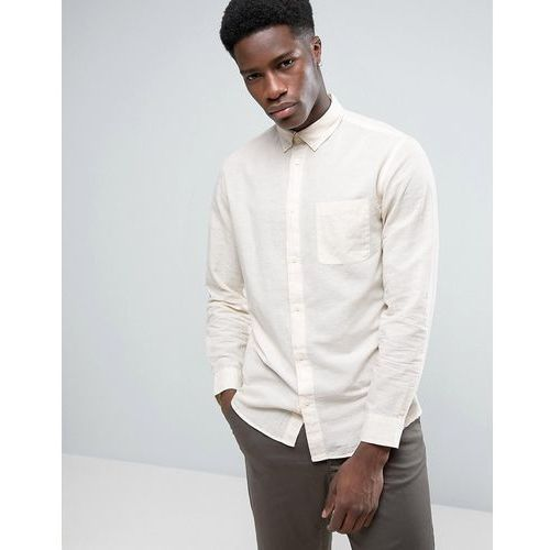 Selected homme  shirt in slim fit linen mix with button down collar - cream
