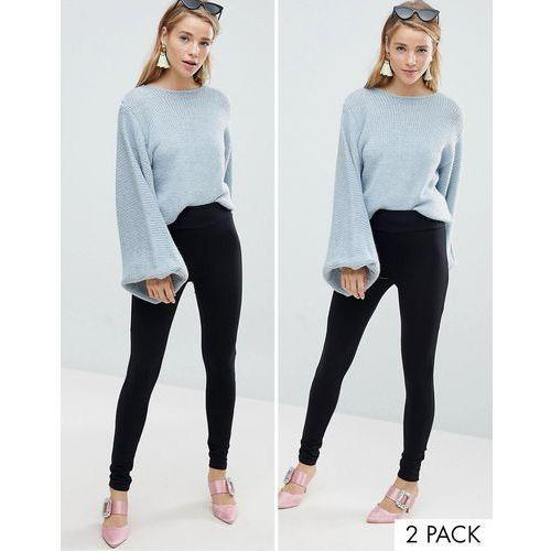 New Look 2 Pack High Waist Leggings - Black, kolor czarny