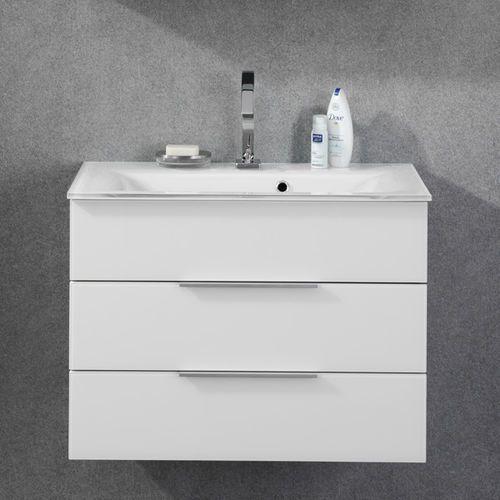 Biała szafka łazienkowa ze szklaną umywalką i podświetleniem kara 80 cm marki Fackelmann