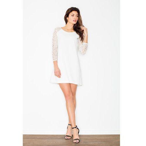 Ecru Trapezowa Sukienka z Koronkowym Długim Rękawem, kolor beżowy