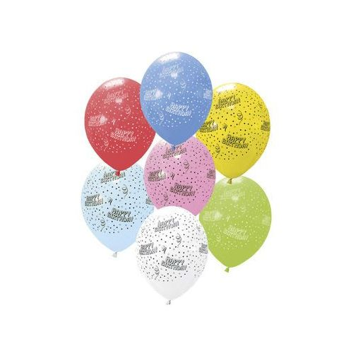 Balony lateksowe Happy Birthday - 40 cm - 6 szt.