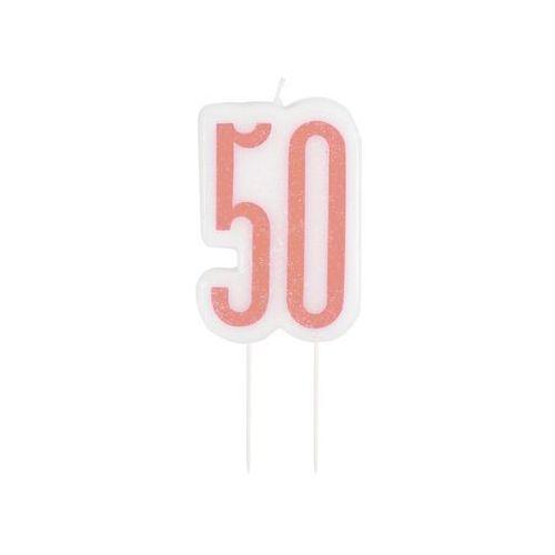 Brokatowa różowo-złota świeczka na 50-tke - 1 szt. (0011179849864)
