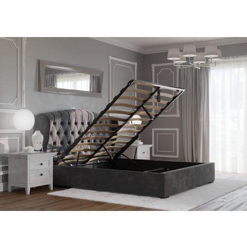 Łóżko 160x200 tapicerowane treviso + pojemnik szare welur marki Big meble