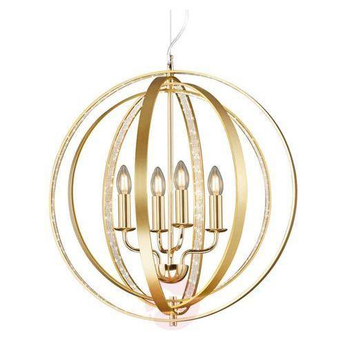 Trio Lampa wisząca candela 102000403 metalowa oprawa świecznikowa zwis pierścienie rings kula ball mosiądz (4017807387919)