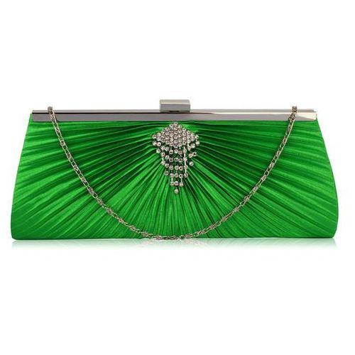 d3475700f2019 Zielona torebka wizytowa kopertówka z ozdobą z kyształków - zielony marki  Wielka brytania