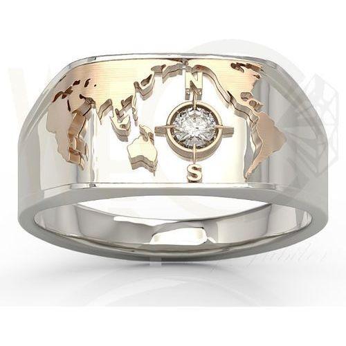 Węc - twój jubiler Sygnet morski z białego i różowego złota z brylantem sj-1410bp - białe i różowe