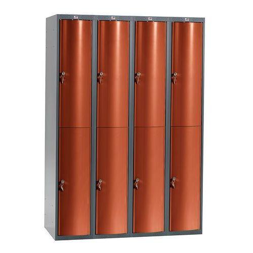Szafa szatniowa curve 4 sekcje 8 drzwi 1740x1200x550 mm czerwony metali marki Aj
