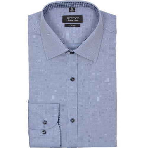 Koszula bexley 2234 długi rękaw slim fit niebieski marki Recman