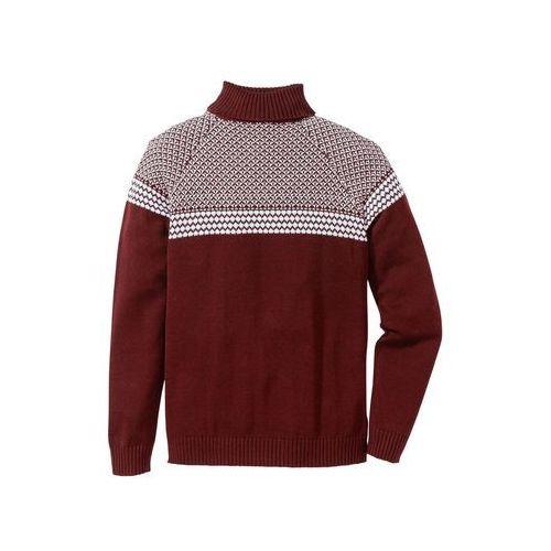 Sweter z golfem Regular Fit bonprix czerwony klonowy, w 7 rozmiarach