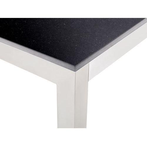 Stół czarny polerowany ze stali nierdzewnej 180cm - granitowy blat - cała płyta - grosseto marki Beliani