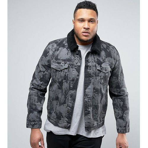 Asos plus denim jacket with bleach effect and borg collar in grey - black