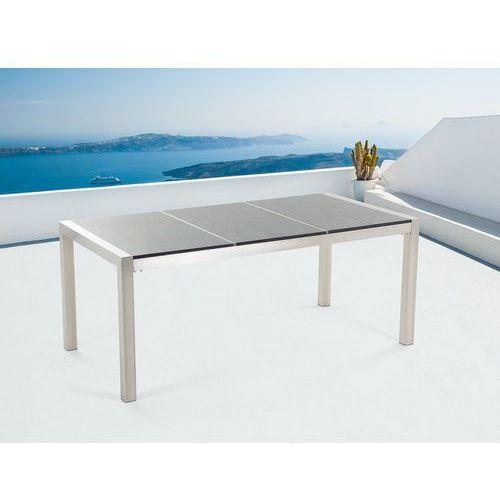 Beliani Stół szary polerowany ze stali nierdzewnej 180cm - granitowy blat - dzielona płyta - grosseto