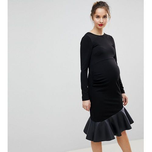 ASOS MATERNITY PU Pephem Mini Dress - Black, kolor czarny