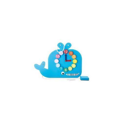 Zegar edukacyjny z tablicą do rysowania dla dzieci wieloryb marki Small foot