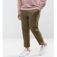 ASOS PLUS Skinny Cropped Smart Trousers In Khaki Linen Mix - Green, kolor zielony