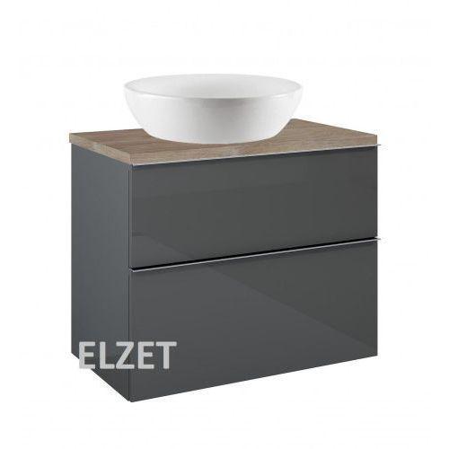 ELITA szafka Look 2S anthracite pod umywalkę nablatową + blat 80 dąb 167082+166899