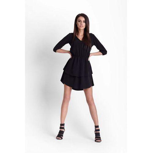 Czarna Rozkloszowana Dziewczęca Sukienka z Dekoltem V, w 4 rozmiarach