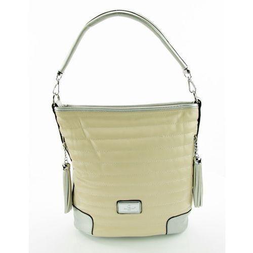 Miękka torebka na ramię pikowana jasny beż ze srebrem marki Gallantry paris
