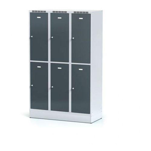 Metalowa szafka ubraniowa 6-drzwiowa na cokole, drzwi antracytowe, zamek obrotowy