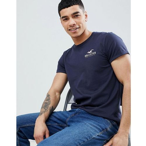 Hollister Front and Back Logo Print T-Shirt Curved Hem in Navy - Navy