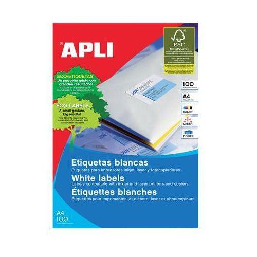 Etykiety uniwersalne APLI, 199,6x289,1mm, zaokrąglone, białe 100 ark., AP2412