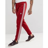 Adidas originals adicolor beckenbauer joggers in skinny fit in burgundy cw1270 - red