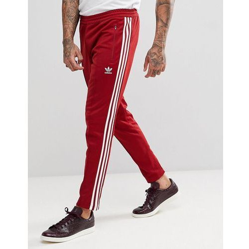 Adidas originals adicolor beckenbauer joggers in skinny fit in burgundy cw1270 - red