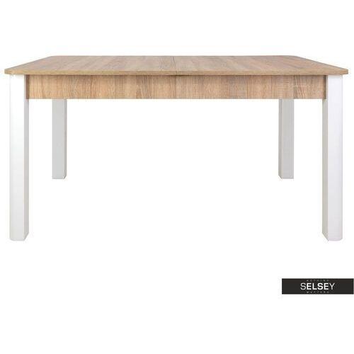 SELSEY Stół rozkładany Eagor 140-190x84 cm zaokrąglonymi rogami dąb sonoma - biały