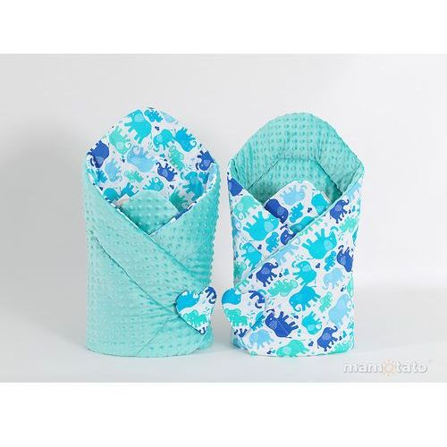 Mamo-tato zabawka dwustronny rożek minky dla lalek słonie niebiesko zielone / miętowy