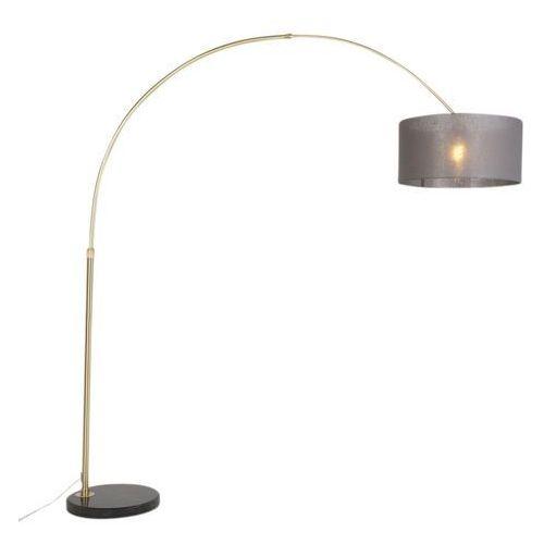 Klasyczna lampa podłogowa łuk matowy mosiądz z kloszem ciemnoszarym - marbello marki Qazqa