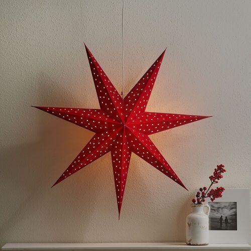 Gwiazda Clara, aksamitny wygląd, Ø 75 cm, czerwona
