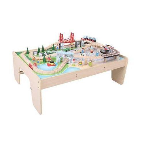 Stół do kolejek drewnianych z zestawem miasto wyposażenie kolejek bigjigs marki Bigjigs toys