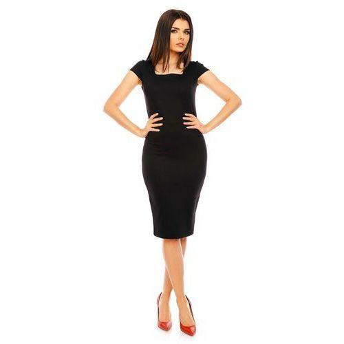 Czarna Ołówkowa Wyjściowa Sukienka Midi z Dekoltem Karo, kolor czarny