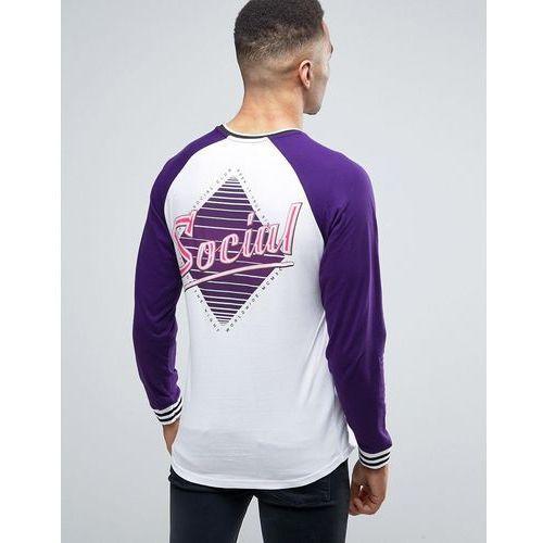 River island long sleeve raglan raglan with back print in purple - purple