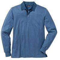 Shirt polo z długim rękawem Regular Fit bonprix niebieski dżins, kolor niebieski