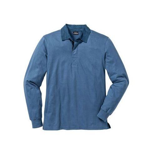 Shirt polo z długim rękawem Regular Fit bonprix niebieski dżins