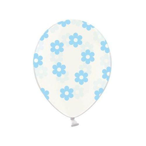 Balony przeźroczyste Kwiatki niebieskie - 37 cm - 50 szt.