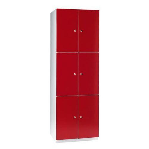 Eugen wolf Szafa z półkami, 6 półek, 1800x600x500 mm, drzwi czerwone. solidna, spawana kons