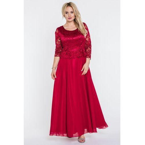 Czerwona maxi z koronkową górą - L'ame de Femme, kolor czerwony