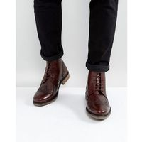 brogue boots in burgundy leather - red, Silver street