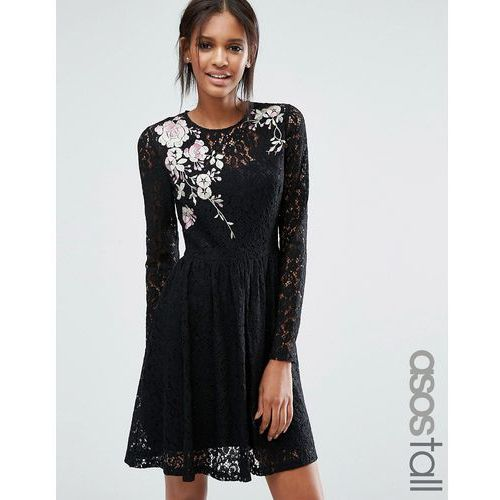 ASOS TALL All Over Lace Mini Dress with Floral Embroidery - Black