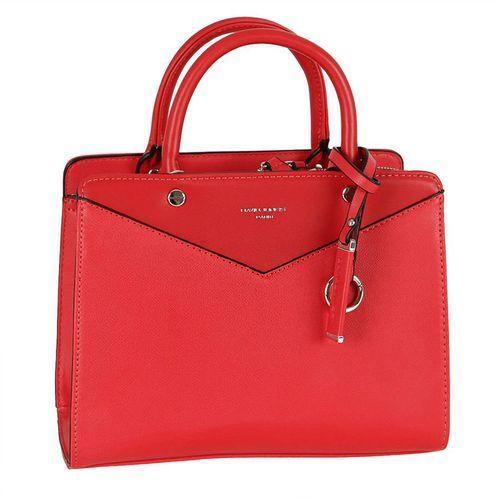 Nieduża klasyczna torebka damska czerwona - czerwony marki David jones