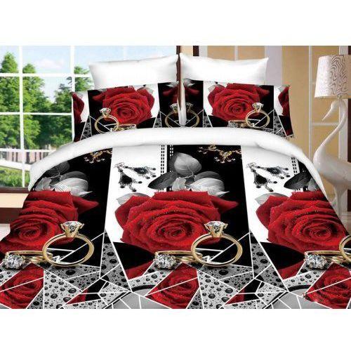 Pościel bawełniana 160x200 Czerwona róża z diamentem MSP 902-07 160x200 4 cz., MSP 902-07