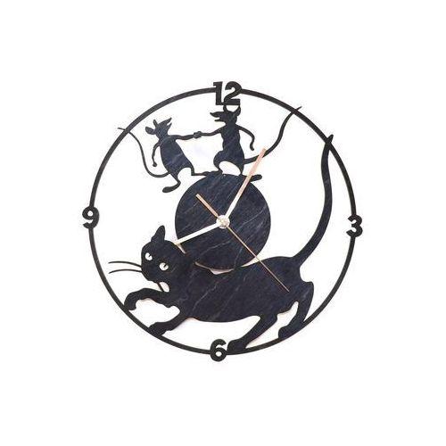 Drewniany zegar na ścianę Kot i myszy ze złotymi wskazówkami (5907509932458)